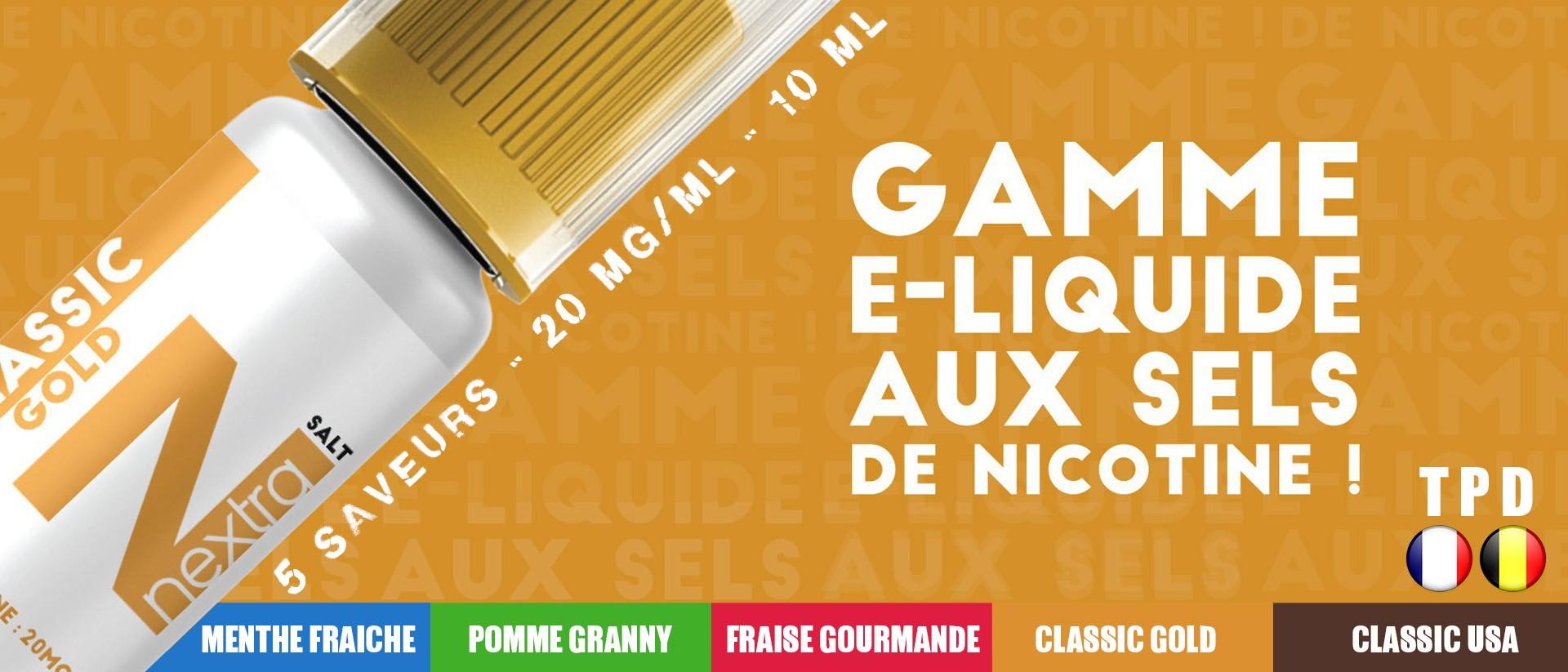 Nextra | E-liquides aux sels de nicotine